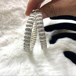 3 / $25 White Rhinestone Hoop Earrings